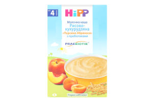 Каша молочная с пребиотиками рисово-кукурузная для детей от 4мес Персики-Абрикосы Hipp к/у 250г