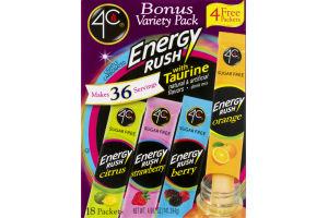 4C Energy Rush With Taurine Packets Bonus Variety Pack - 18 CT