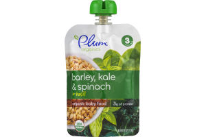 Plum Organics Organic Baby Food Barley, Kale & Spinach + Basil Stage 3