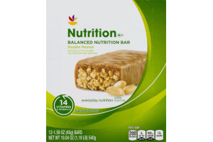 Ahold Nutrition Balanced Nutrition Bar Double Peanut - 12 CT