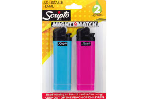 Scripto Mighty Match Adjustable Flame Lighters - 2 CT