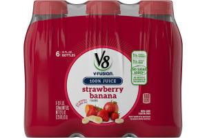 V8 V-Fusion 100% Juice Strawberry Banana - 6 Ct