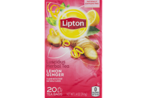 Lipton Luscious Herbal Tea Lemon Ginger Tea Bags - 20 CT