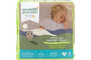 Seventh Generation Baby Free & Clear Overnight Diapers Size 4 - 24 CT