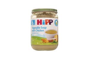 Пюре для детей от 6мес Овощной суп с цыпленком Hipp с/б 190г