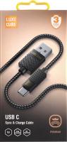 Кабель USB С 1м сірий Lightning Рremium Luxe Cube 1шт