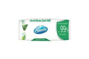 Салфетки влажные с подорожником Antibacterial Smile м/у 100шт