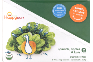 HappyBaby Organics Organic Baby Food Simple Combos 2 Spinach, Apples & Kale - 8 CT