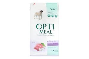 Корм сухой с уткой для взрослых собак малых пород Optimeal м/у 12кг