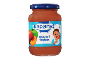 Пюре для детей от 4мес из яблок и персиков Карапуз с/б 200г