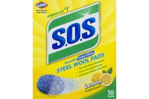 S.O.S Steel Wool Soap Pads, Lemon Fresh, 10 Count