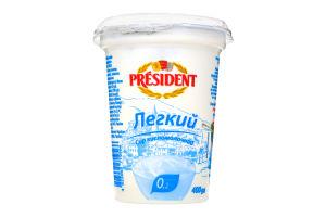Сир кисломолочний 0,2% Легкий стаканчик President 400г
