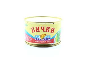 Бычки обжаренные в томатном соусе Море ж/б 240г