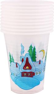 Набір стаканів одноразові Новорічні Уніпак 200мл 10шт