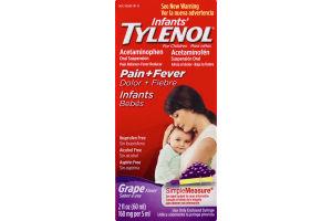 Infants' Tylenol For Children Acetaminophen Oral Suspension Pain + Fever Grape