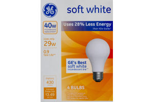 GE Soft White 29W Bulbs - 4 CT