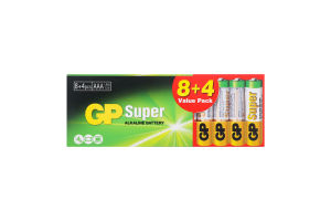 Батарейка щелочная 24A8/4-2UE12 ААА Super GP 12шт