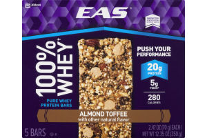 EAS 100% Whey Protein Bars Almond Toffee - 5 CT