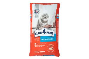 Корм сухой для взрослых котов Premium С Лососем Club 4 Paws м/у 14кг