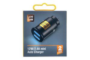Адаптер автомобільний міні чорний 12W 2.4A Luxe Cube 1шт