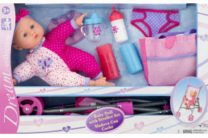 Dream Collection Baby Doll with Stroller Set