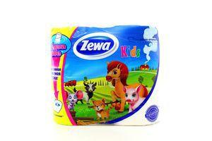 Бумага туалетная 3-х слойная Kids Zewa 4шт
