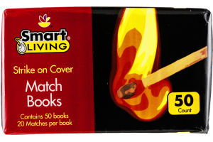Smart Living Match Books - 50 PK
