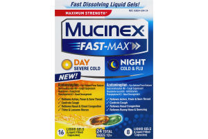 Mucinex Fast-Max Day Severe Cold and Night Cold & Flu Maximum Strength - 24 CT