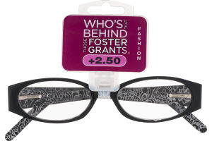 Foster Grants Non-Prescription Glasses Fashion +2.50 Ava BLK