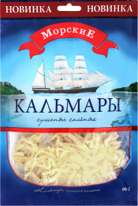 Кальмары сушеные соленые Морские м/у 60г