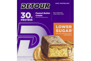 Detour Whey Protein Bar Peanut Butter Cream- 12 CT