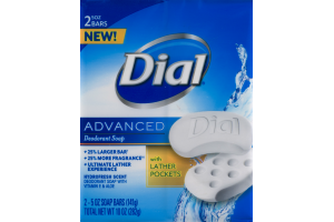 Dial Advanced Deodorant Soap with Lather Pockets - 2 CT