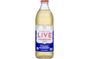 LIVE Raw and Organic Kombucha Soda Pomtastic Blueberry
