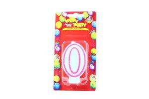 Свічки Happy Party Веселе свято для торту глазуров рожева 0