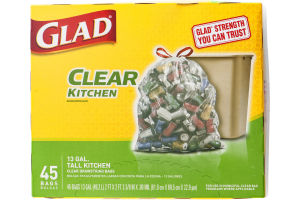 Glad Clear Kitchen 13 GAL Tall Kitchen Drawstring Bags - 45 CT