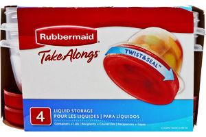 Rubbermaid Take Alongs Twist & Seal Liquid Storage - 4 CT