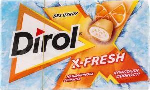 Гумка жувальна без цукру Мандаринова свіжість X-Fresh Dirol к/у 18г