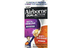 Airborne Dual Action Immune Support Supplement Chewable Tablets Citrus Flavored - 32 CT
