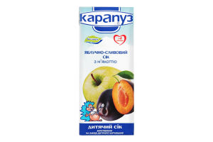 Сік для дітей з 4міс яблучно-сливовий з м'якоттю Карапуз т/п 200мл