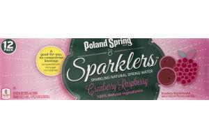 Poland Spring Sparklers Sparkling Natural Spring Water Cranberry Raspberry - 12 PK