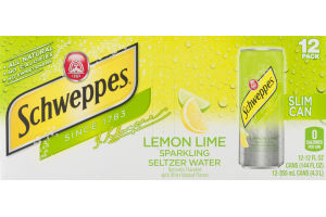 Schweppes Slim Can Sparkling Seltzer Water Lemon Lime - 12 PK