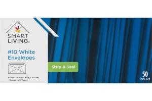 Smart Living #10 White Envelopes Strip & Seal - 50 CT
