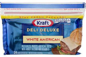 Kraft Deli Deluxe Cheese Slices White American - 24 CT