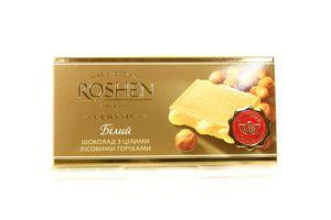 Шоколад Roshen белый с цел. лесными орехами 100г