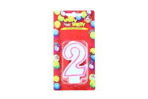 Свічки Happy Party Веселе свято для торту глазуров рожева 2