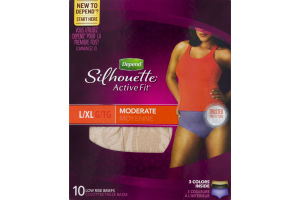 Depend Silhouette Active Fit Low Rise Briefs Moderate Absorbency Large/XL - 10 CT