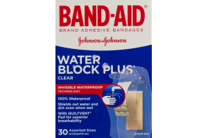 Band-Aid Water Block Plus Clear Bandages Assorted Sizes - 30 CT
