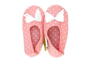 Тапочки-чешки комнатные детские трикотажные Twins Горох 32-33 розовые