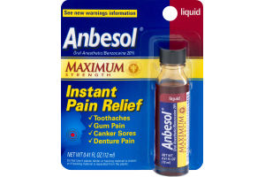 Anbesol Oral Anesthetic Maximum Strength Instant Pain Relief Liquid
