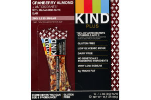 KIND Plus Cranberry Almond + Antioxidants with Macadamia Nuts Bars - 12 CT
